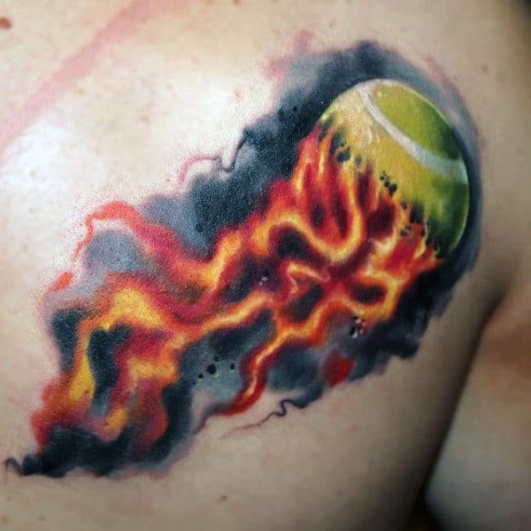 Tennis Ball On Fire Mens Watercolor Tattoo Ideas
