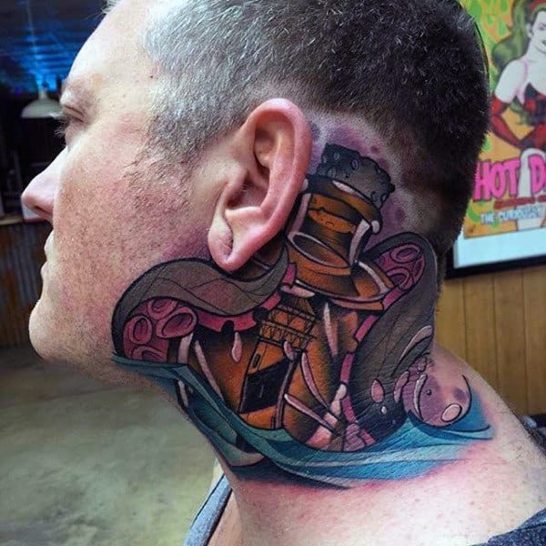 Tentacles Of Octopus Wrapped Around Bottle Mens Insane Neck Tattoo