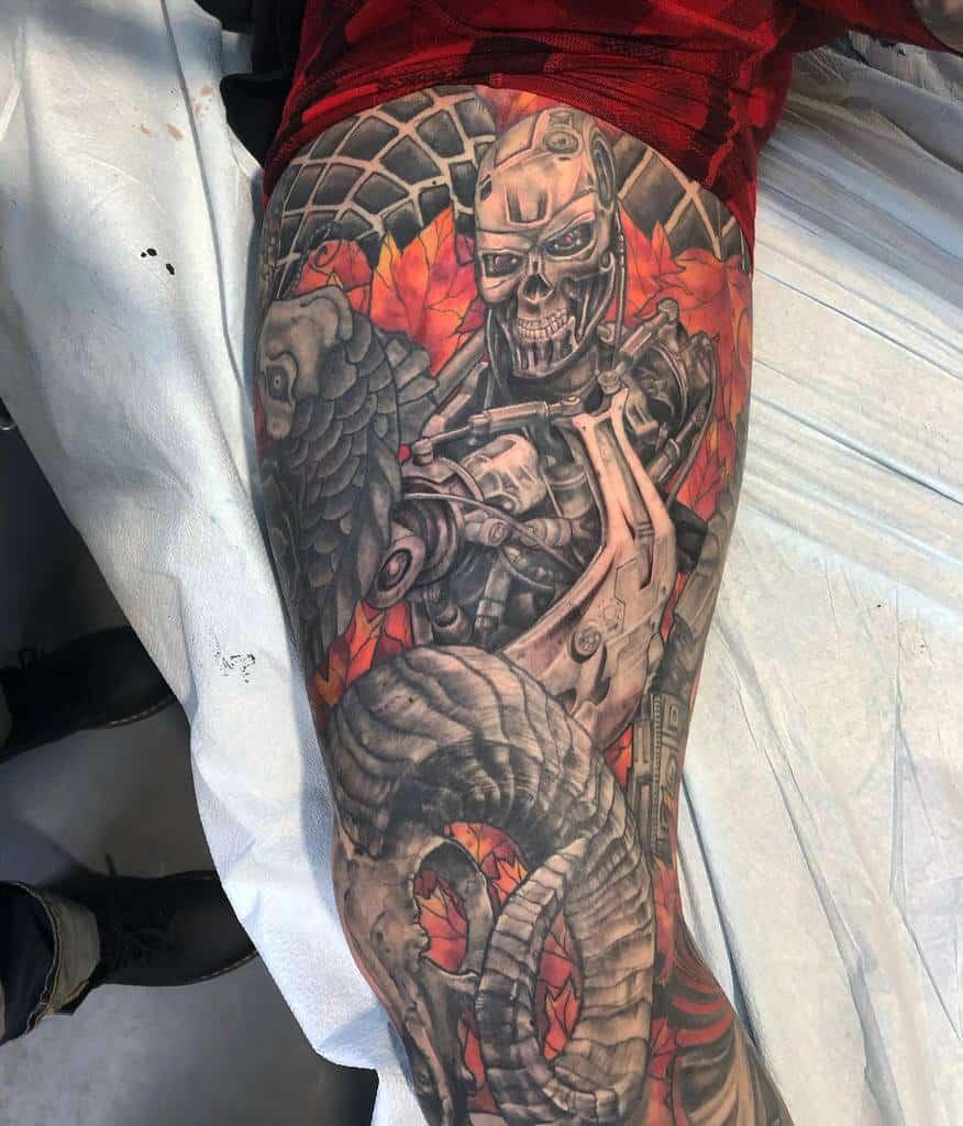 Terminator colour leg sleeve tattoo