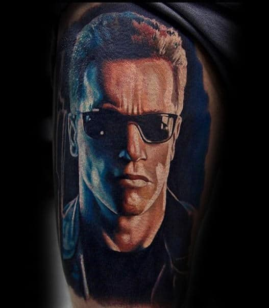 Terminator Thigh Tattoo On Male