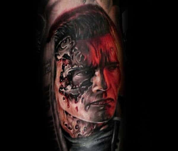 Terminator With Bullets In Cyborg Mens Bicep Tattoo Design Ideas
