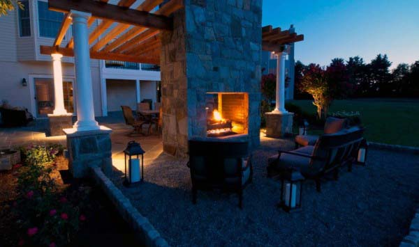 Terrace Attached To Outdoor Stone Fireplace