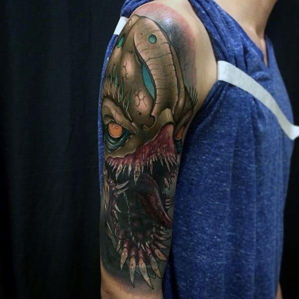 Terrible Beast New School Tattoo Male Arms