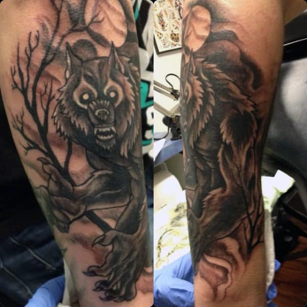 Terrible Werewolf Tattoo Mens Forearms