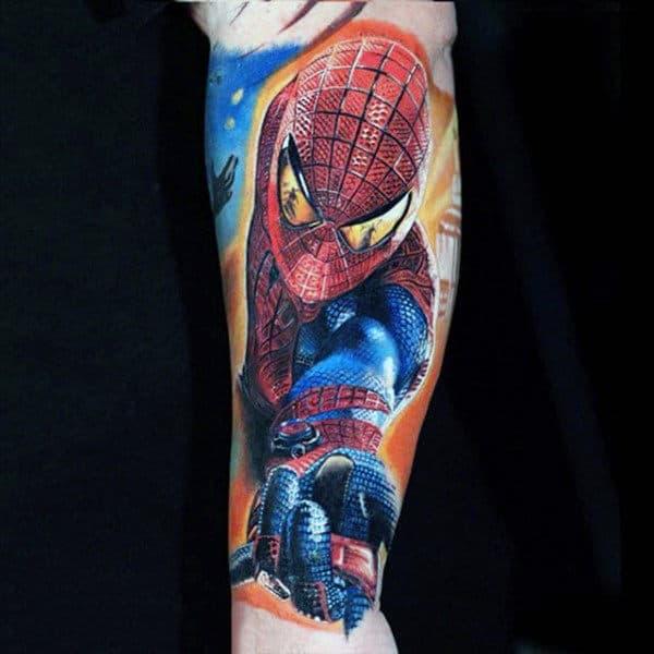 Terrific Spiderman Tattoo Mens Forearm