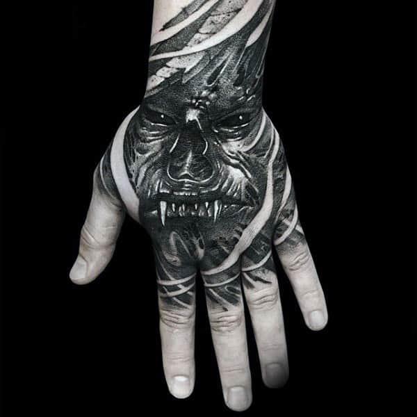 Terrifying Beast Interesting Black Tattoo Male Hands