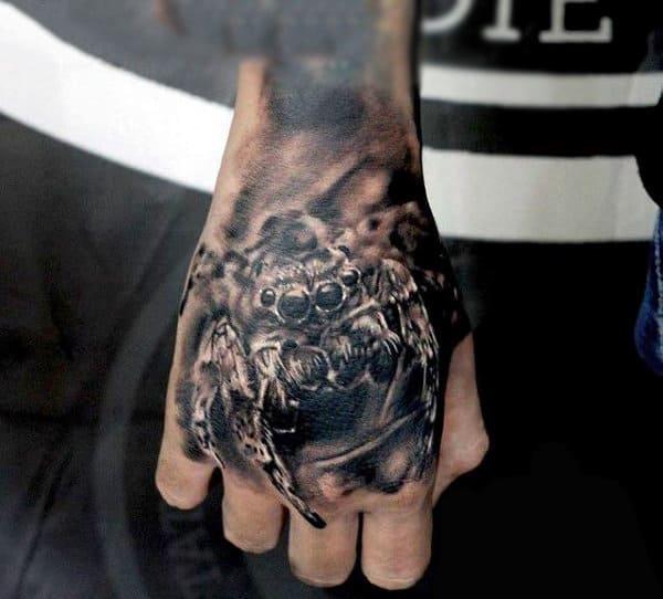 Terrifying Spider Tattoo On Hands For Men
