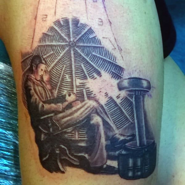 Tesla Mens Science Tattoo On Thigh