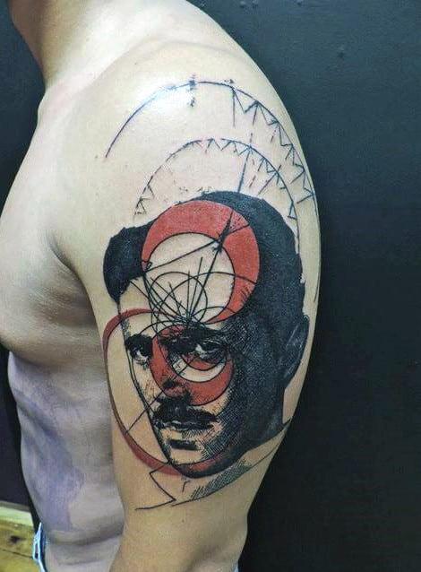 Tesla Upper Arm Science Mens Tattoo Design Inspiration