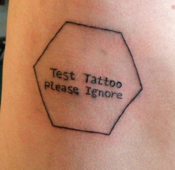 Test Tattoo Please Ignore Small Funny Tattoo