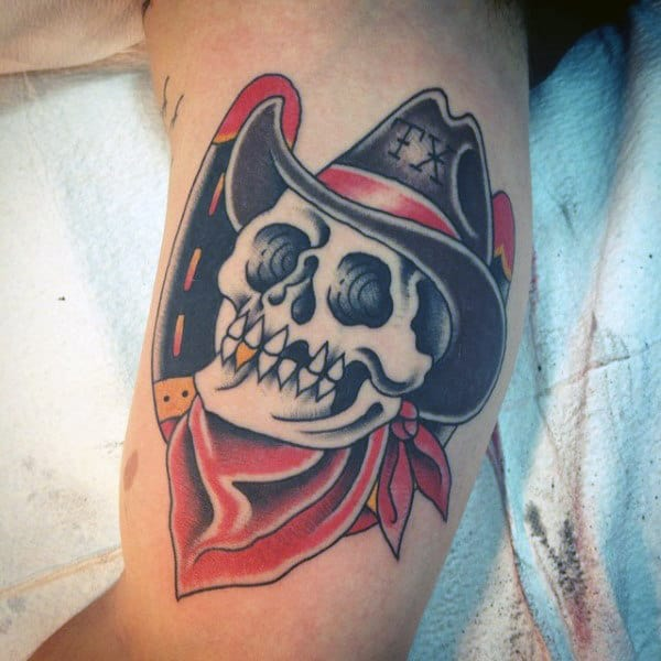 traditional cowboy skull tattoo images galleries with a bite. Black Bedroom Furniture Sets. Home Design Ideas