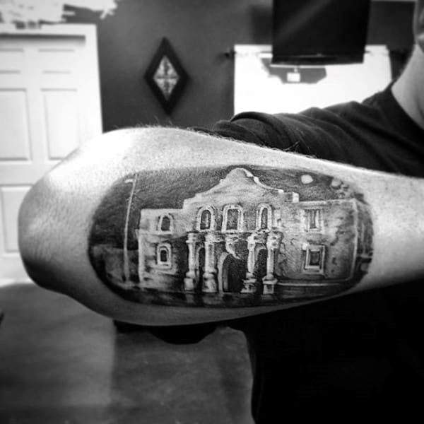 Texas Building Mens Outer Forearm Tattoos