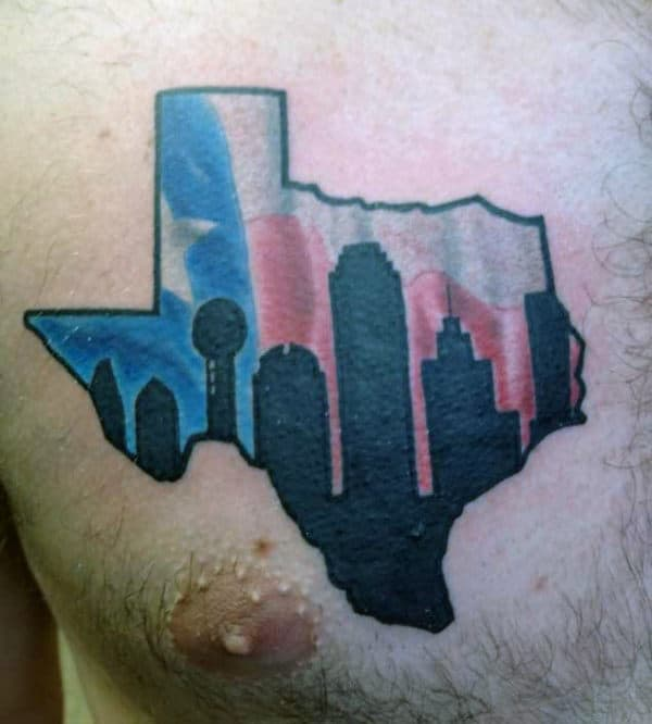 Texas City Skyline With Flag Guys Chest Tattoo