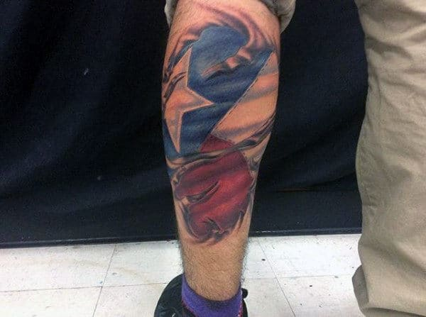 Texas Flag Mens Ripped Skin Leg Sleeve Tattoos
