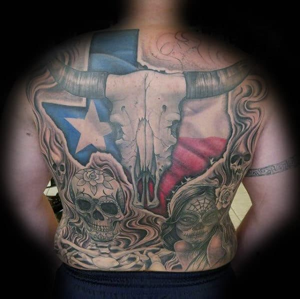 Texas Full Back Themed Mens Tattoos