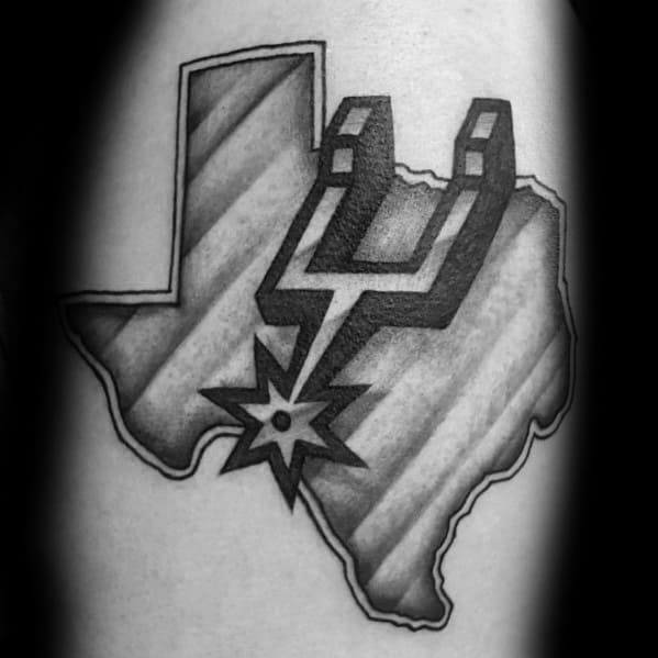Texas Outline San Antonio Spurs Tattoos For Gentlemen