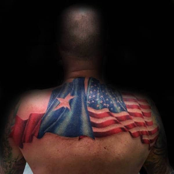 Texas State Flag With American Flag Mens Upper Back Tattoos