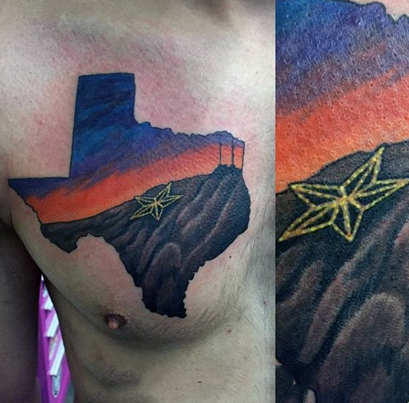 Texas State With Star Mens Sunset Chest Tattoos