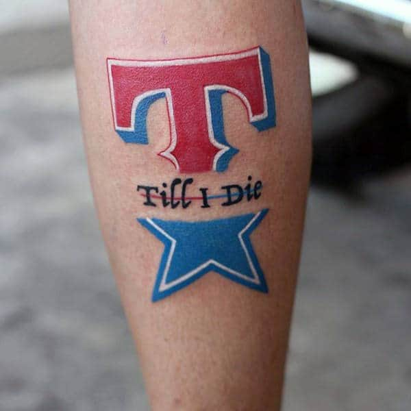 Texas Till I Die Mens T And Star Leg Tattoo