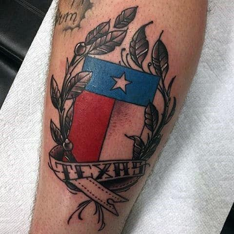 Texas With Olive Brach Guys Banner Leg Tattoo