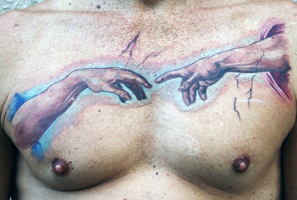 The Creation Of Adam Male Tattoo Designs Chest