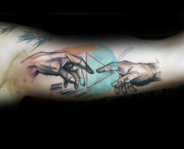 The Creation Of Adam Tattoo Design On Man Inner Arm Bicep Watercolor