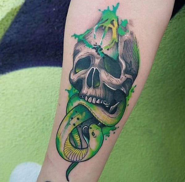 The Dark Mark Guys Tattoos Watercolor Skull And Snake Forearm