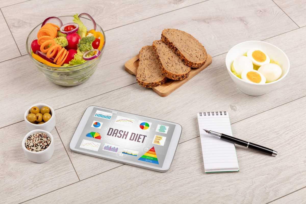 Bio, Lebensmittel, Und, Tablet, PC, Zeigen, Dash, Diät, Inschrift, Gesund