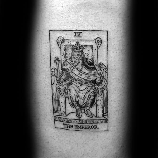 The Emperor Back Artistic Male Tarot Tattoo Ideas