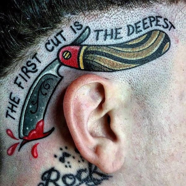 The First Cut Is The Deepest Barber Straight Razor Tattoo For Men