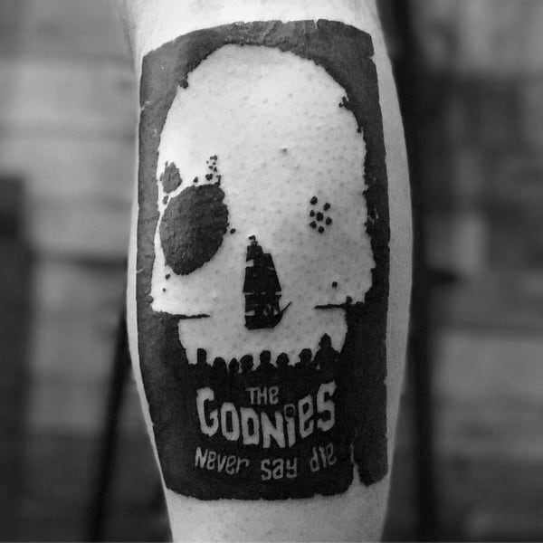 The Goonies Negative Space Leg Tattoo