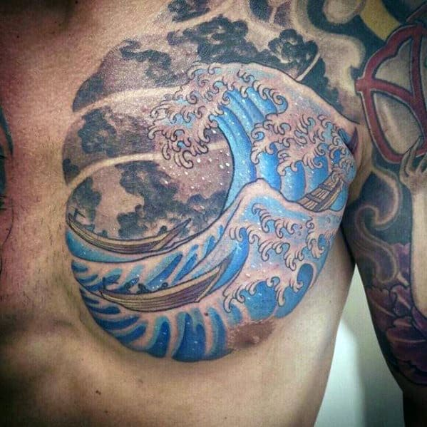 The Great Wave Japanese Mens Chest Tattoos