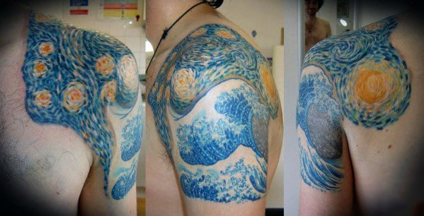 The Great Wave With Stary Night Vincent Van Gogh Mens Half Sleeve Tattoo
