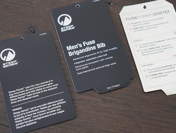 The North Face Mens Fuse Brigandine Bibs Tag Features