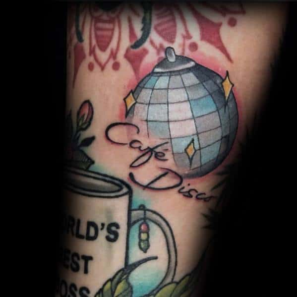 The Office Cafe Disco Tattoo For Men On Arm