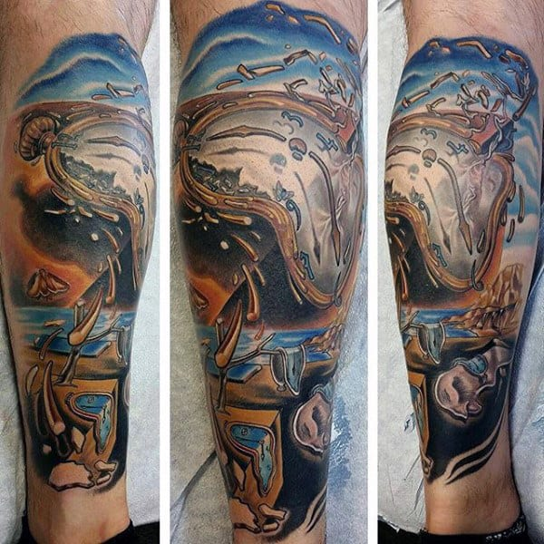 The Persistence Of Memory Painting Melting Clock Mens Leg Sleeve Tattoo