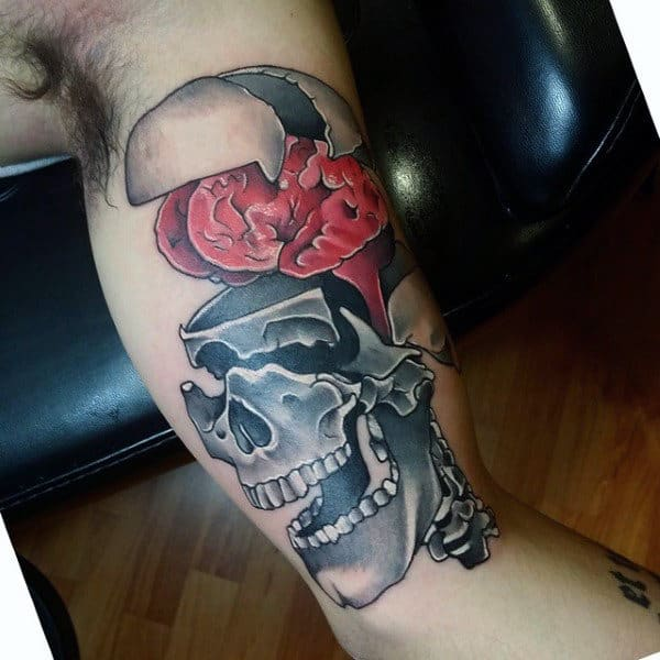 The Red Brain Of Grinning Skull Tattoo Male Arms