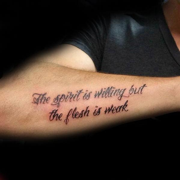 Tattoo Quotes Gallery: 40 Forearm Quote Tattoos For Men