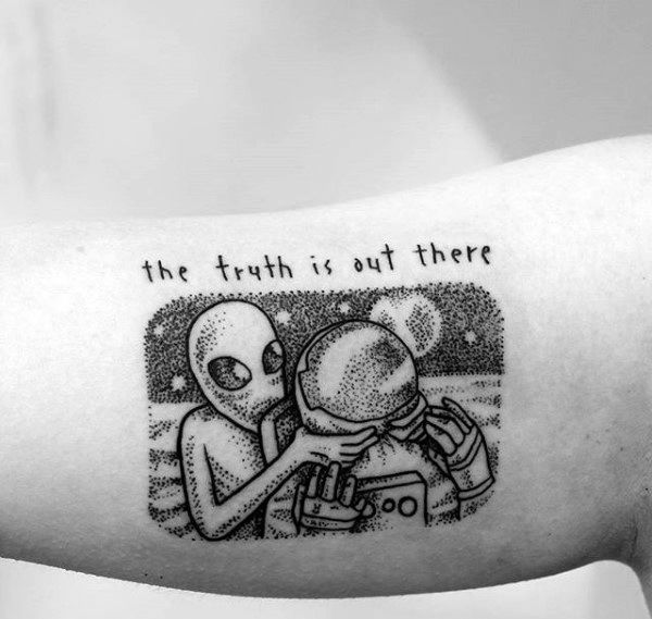 The Truth Is Out There Small Dotwork Alien Tattoos For Men On Inner Arm