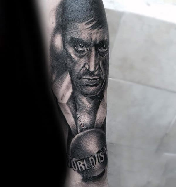 The World Is Yours Portrait Scarface Male Shaded Outer Forearm Tattoos