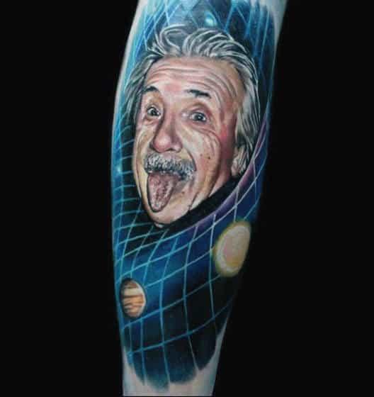 Theoretical Physicist Tattoo For Men Of Albert Einstein On Forearm Wrist