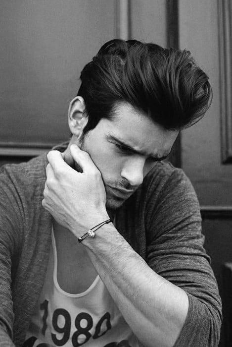 Thick Long Length Mens Pompadour Haircuts