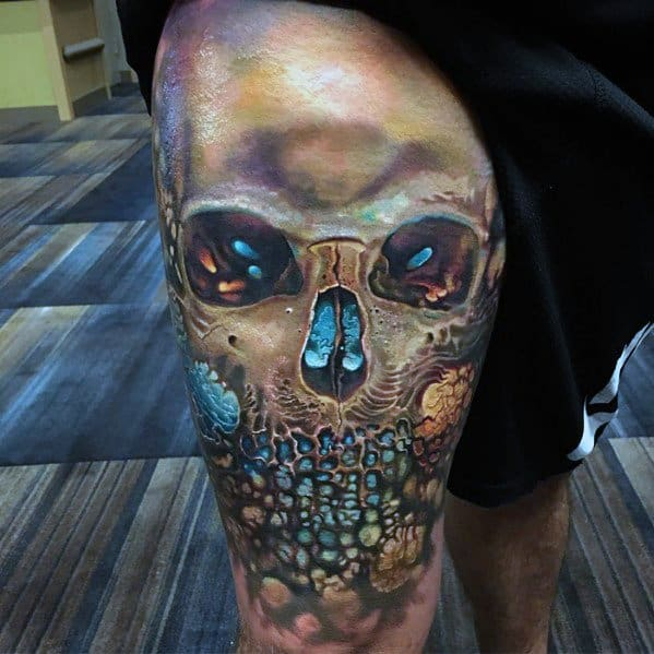 Thigh 3d Badass Skull Guys Tattoo Designs