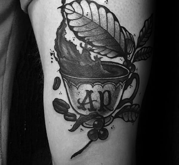 Thigh 3d Coffee Cup Tattoo Designs For Guys