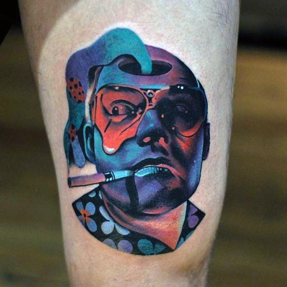 Thigh 3d Consciousness Tattoo Design On Man
