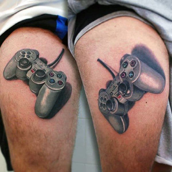 Thigh 3d Controller Playstation Tattoo Designs For Guys