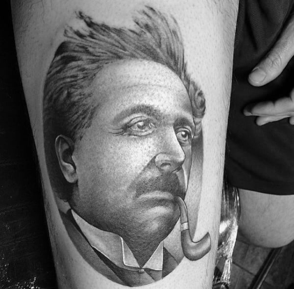 Thigh 3d Guys Albert Einstein With Pipe Tattoos