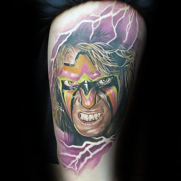 Thigh 3d Guys Tattoos With Wrestling Design