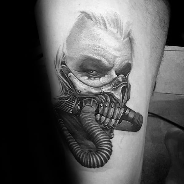 Thigh 3d Mad Max Guys Tattoo Designs