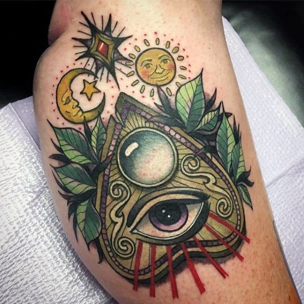 Thigh 3d Planchette Guys Tattoo Ideas